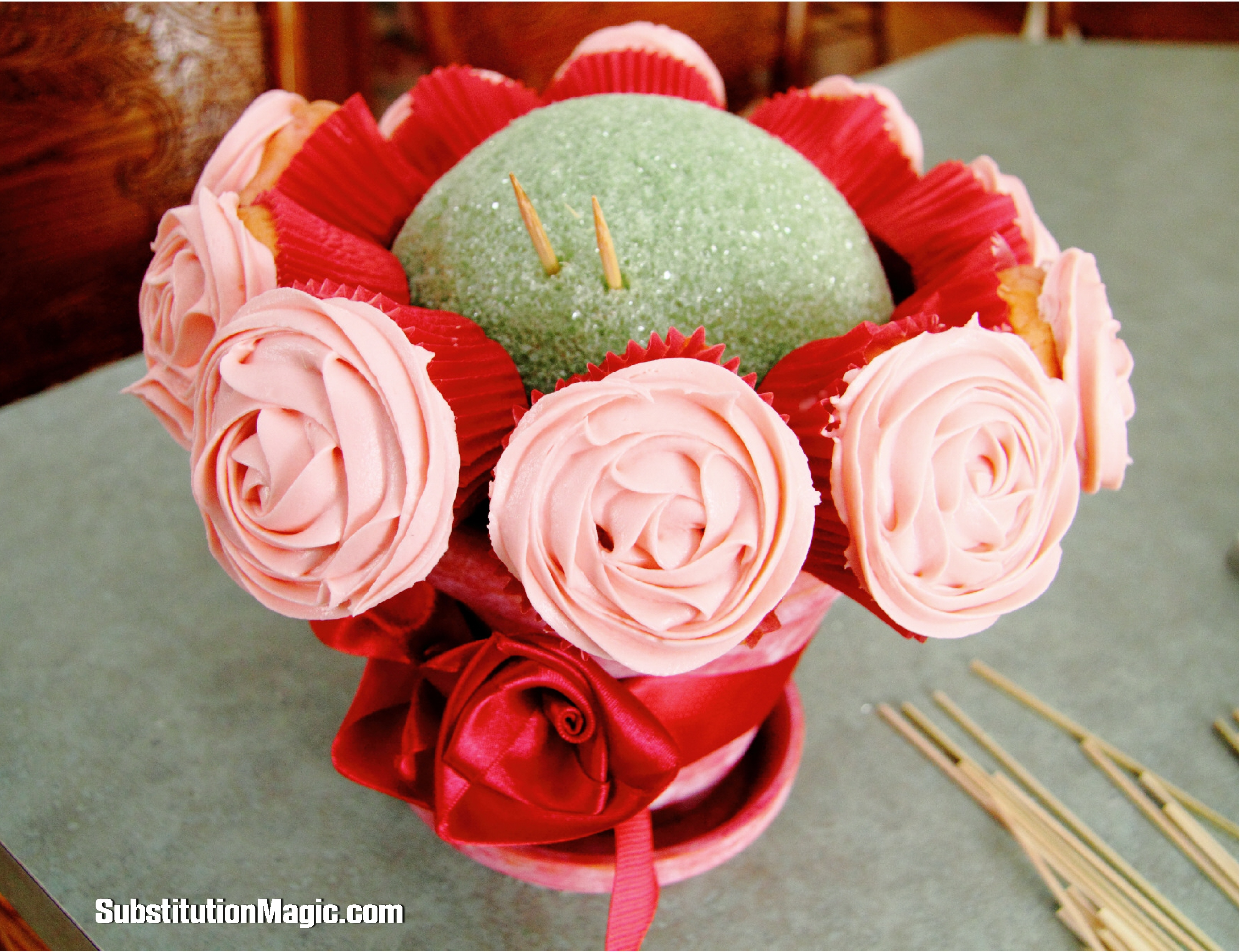 Cherry amaretto cupcake bouquet gluten dairy egg soy free cupcake bouquet instruction photo izmirmasajfo